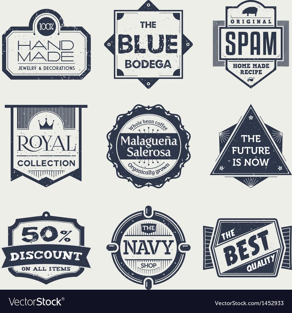 Monochrome vintage labels vector