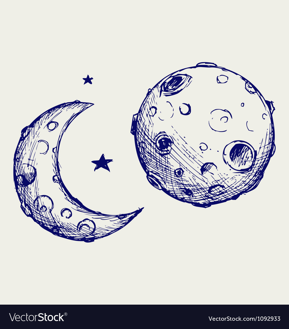 Moon and lunar craters vector | Price: 1 Credit (USD $1)
