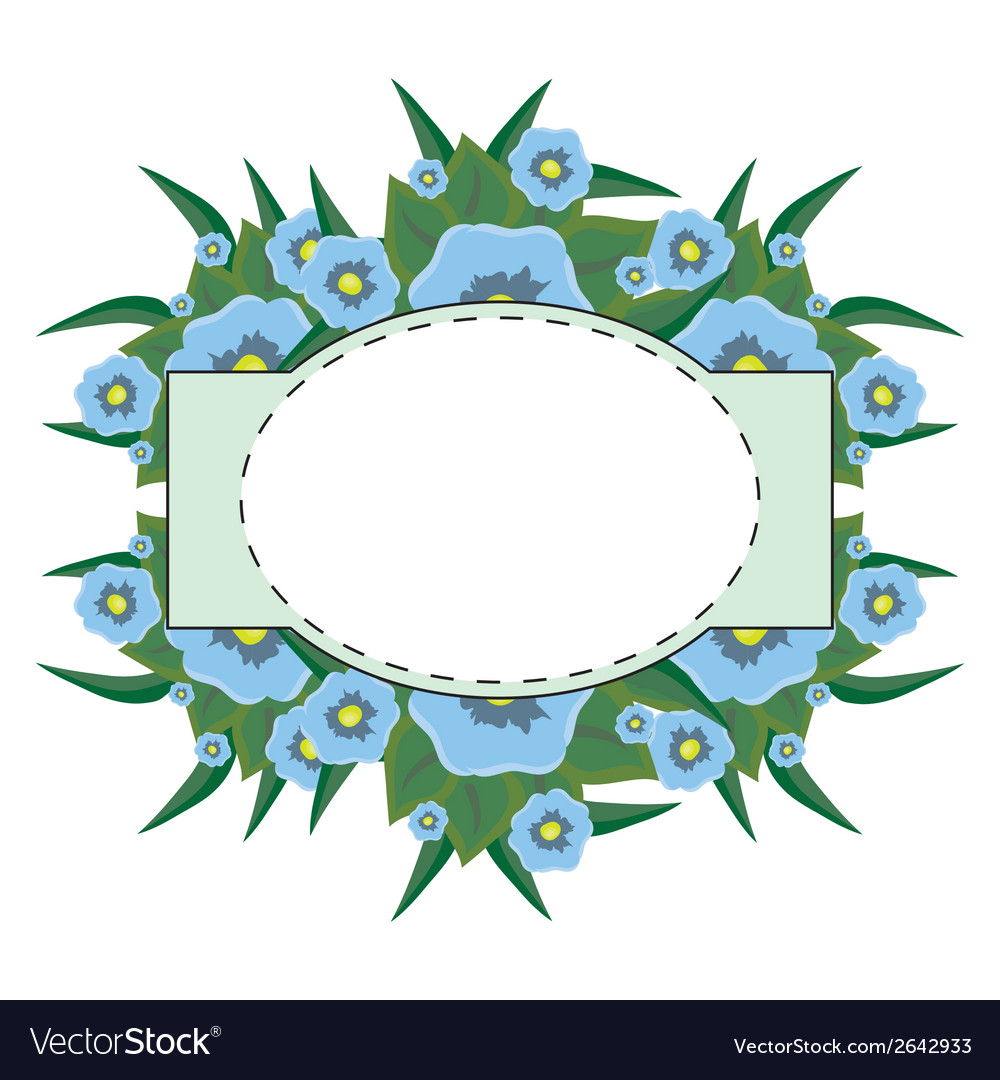 Oval label on a floral background vector | Price: 1 Credit (USD $1)