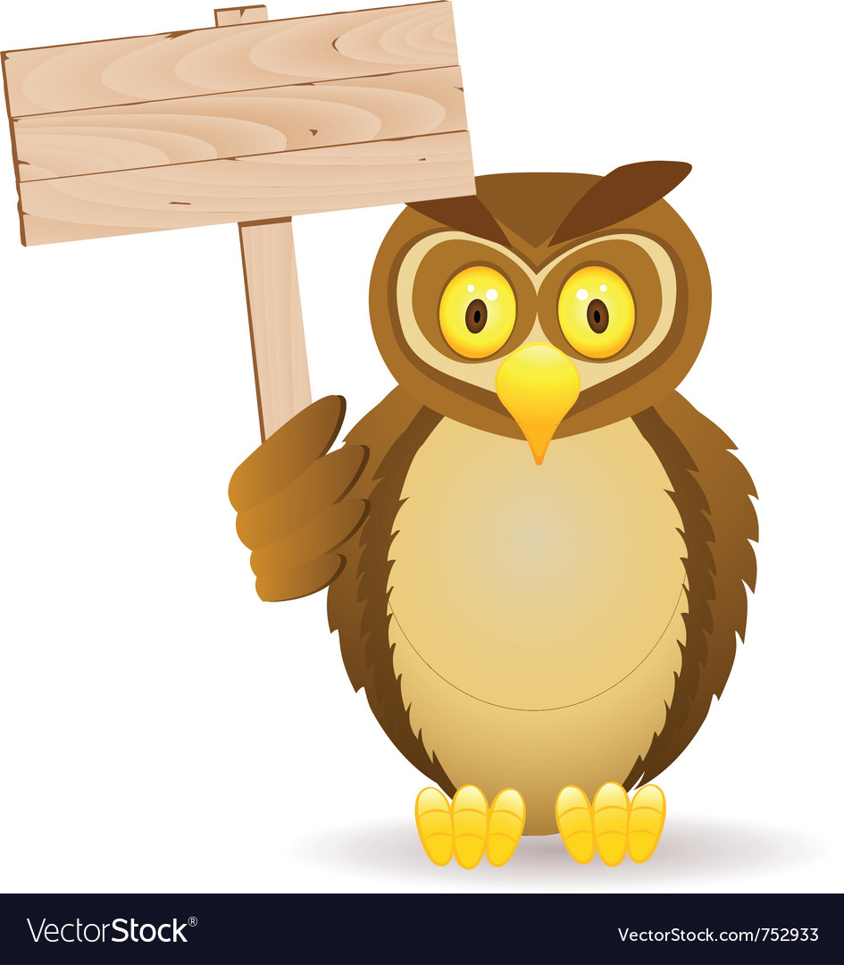 Owl with blank signboard vector | Price: 3 Credit (USD $3)