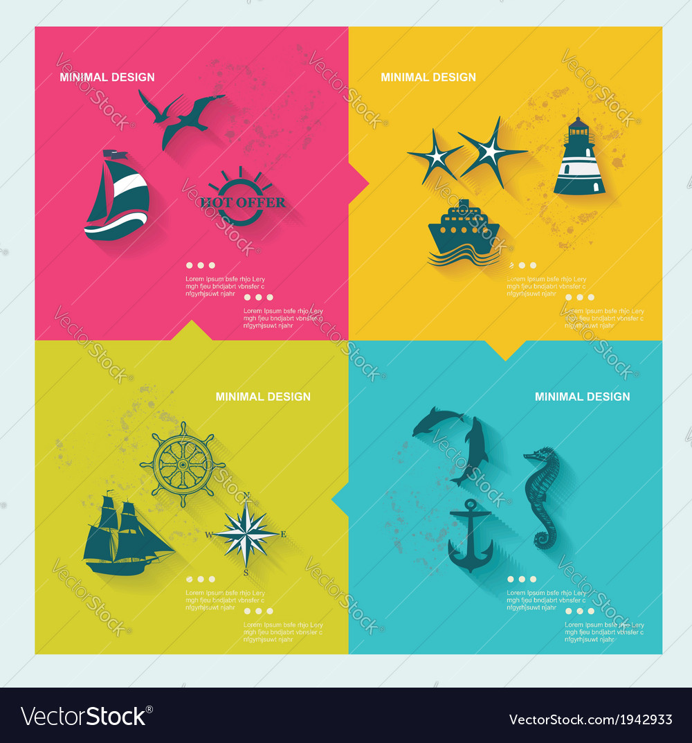 Set of sea labels flat design vector | Price: 1 Credit (USD $1)