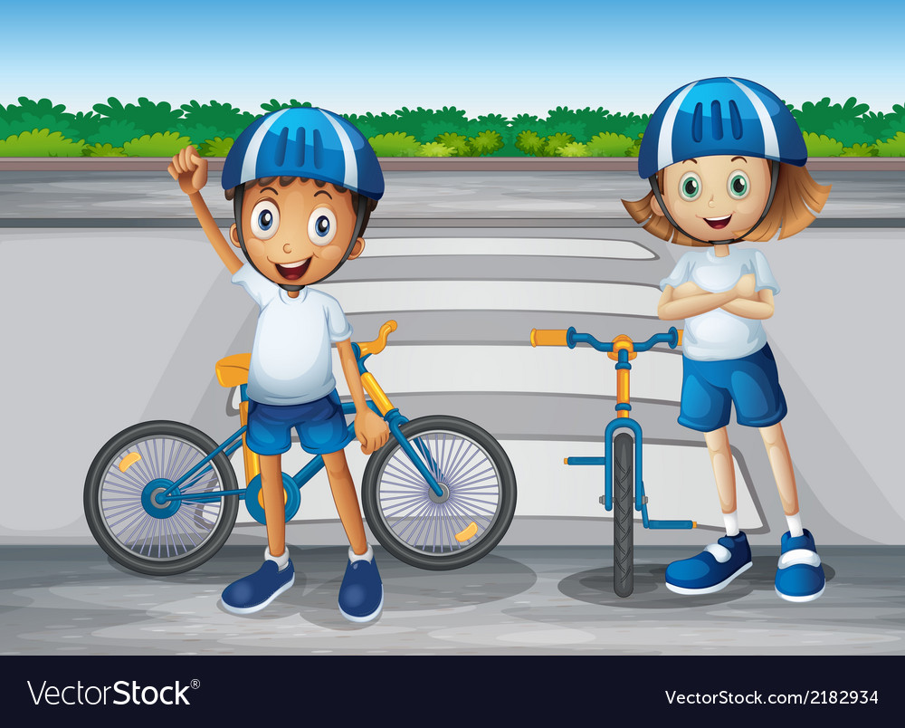 A girl and a boy with their bikes standing near vector | Price: 1 Credit (USD $1)