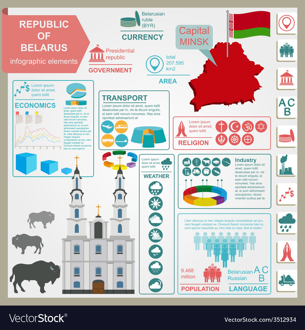 Belarus infographics statistical data sights vector | Price: 1 Credit (USD $1)