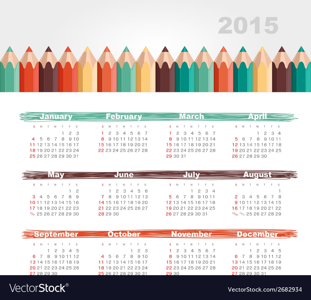 Calendar 2015 year with colored pencils vector | Price: 1 Credit (USD $1)