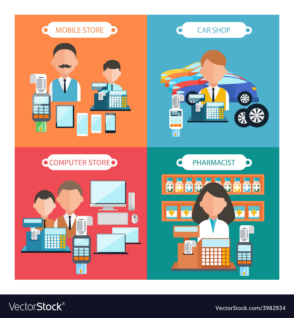 Car mobile pharmacist and computer store vector | Price: 1 Credit (USD $1)