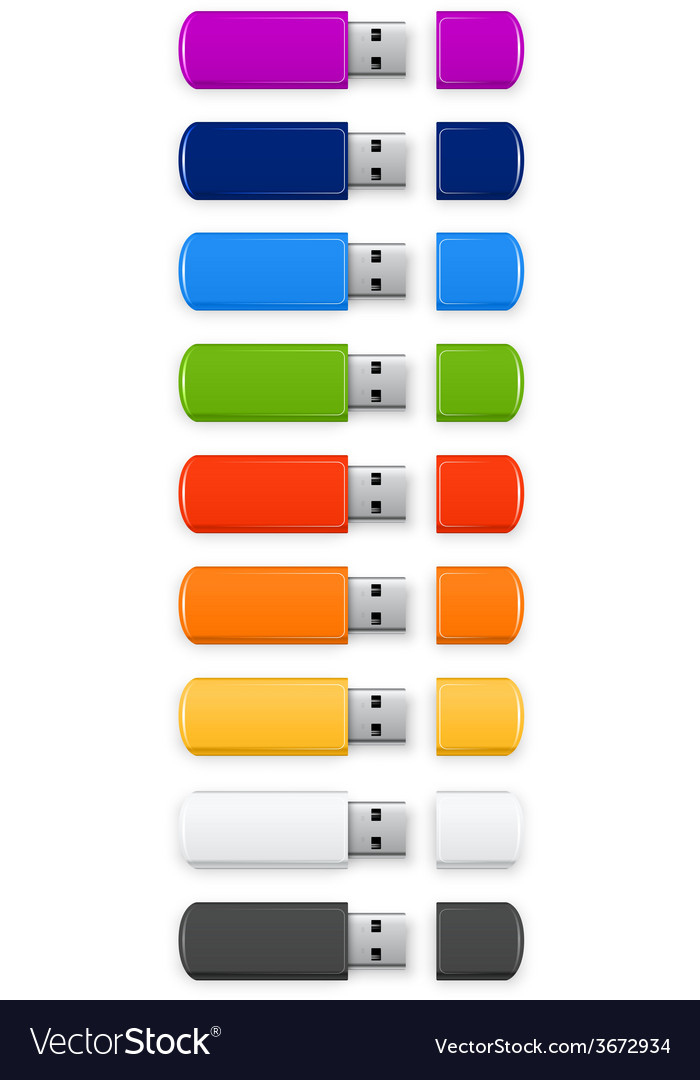 Colored usb flash vector | Price: 1 Credit (USD $1)