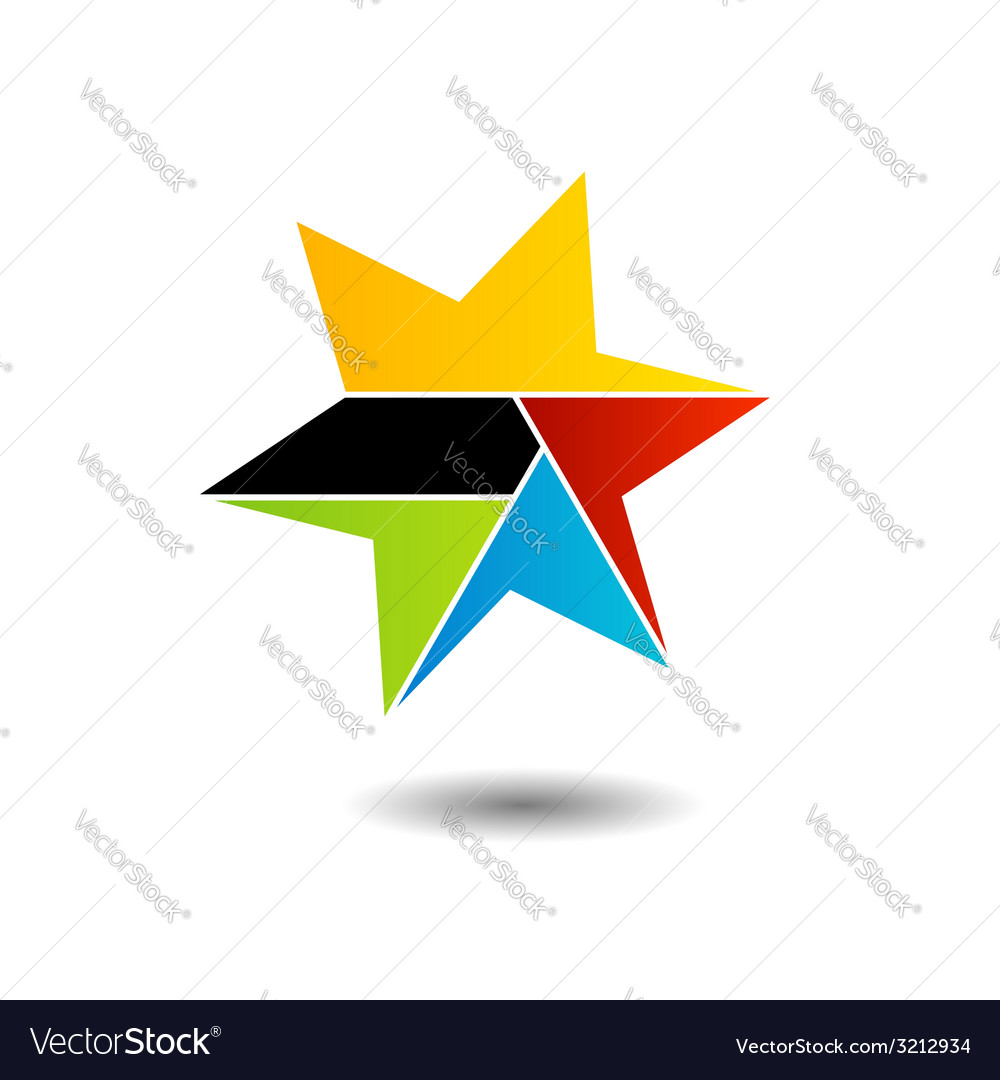 Colorful star logo with six sides vector | Price: 1 Credit (USD $1)