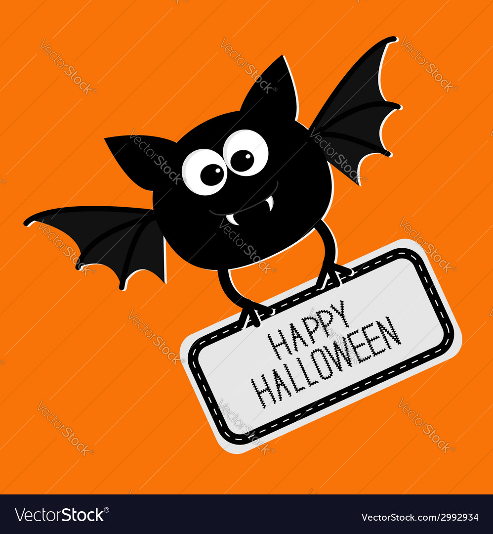 Cute bat with plate happy halloween card flat vector | Price: 1 Credit (USD $1)