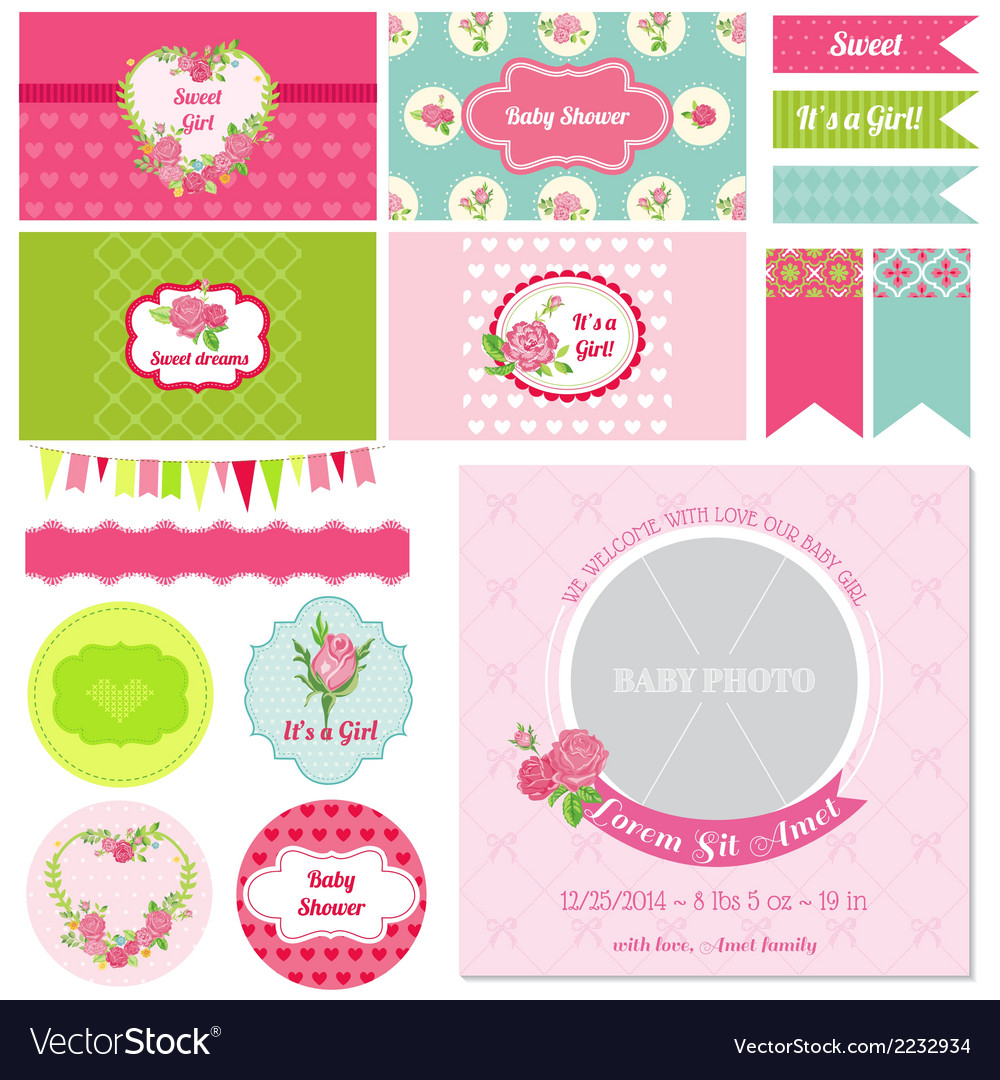 Design elements - baby shower flower theme vector | Price: 3 Credit (USD $3)