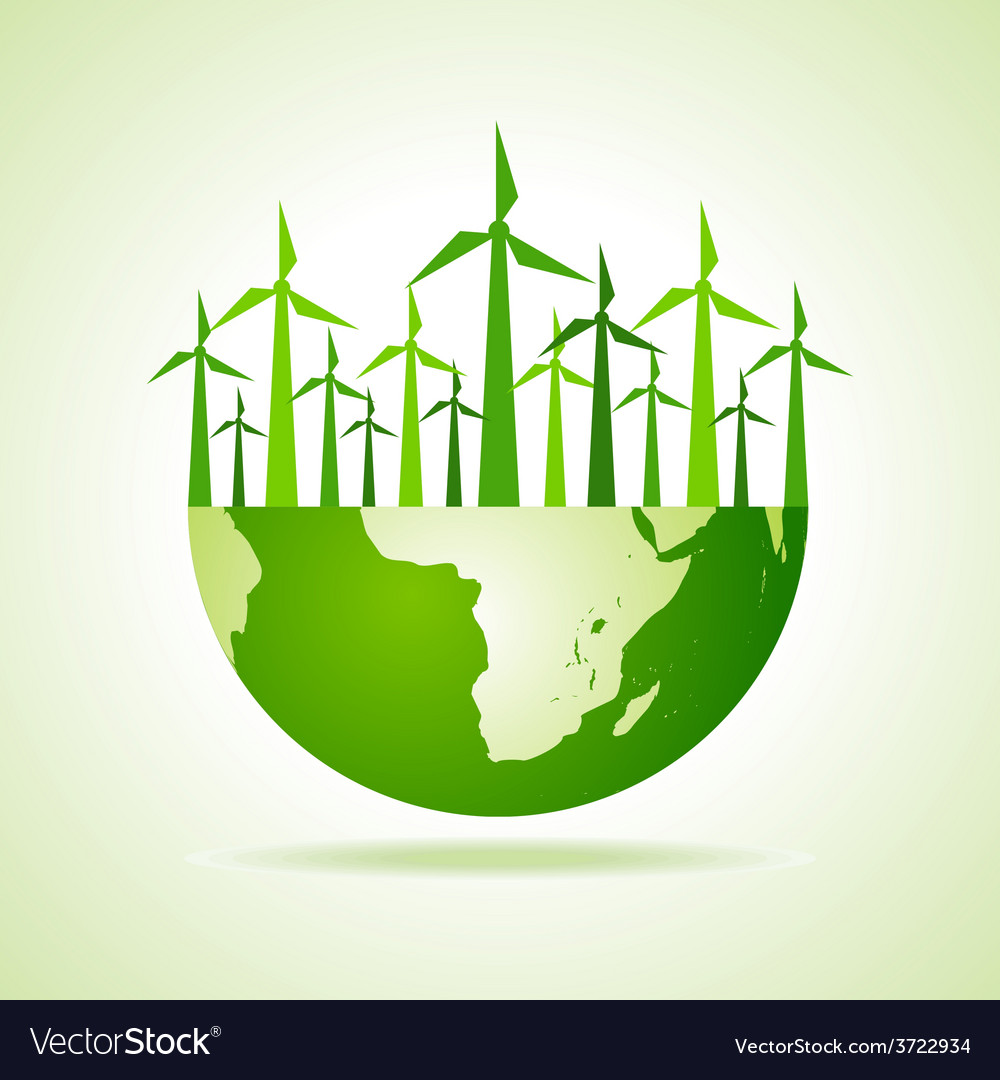 Ecology concept - earth with wind mill vector | Price: 1 Credit (USD $1)