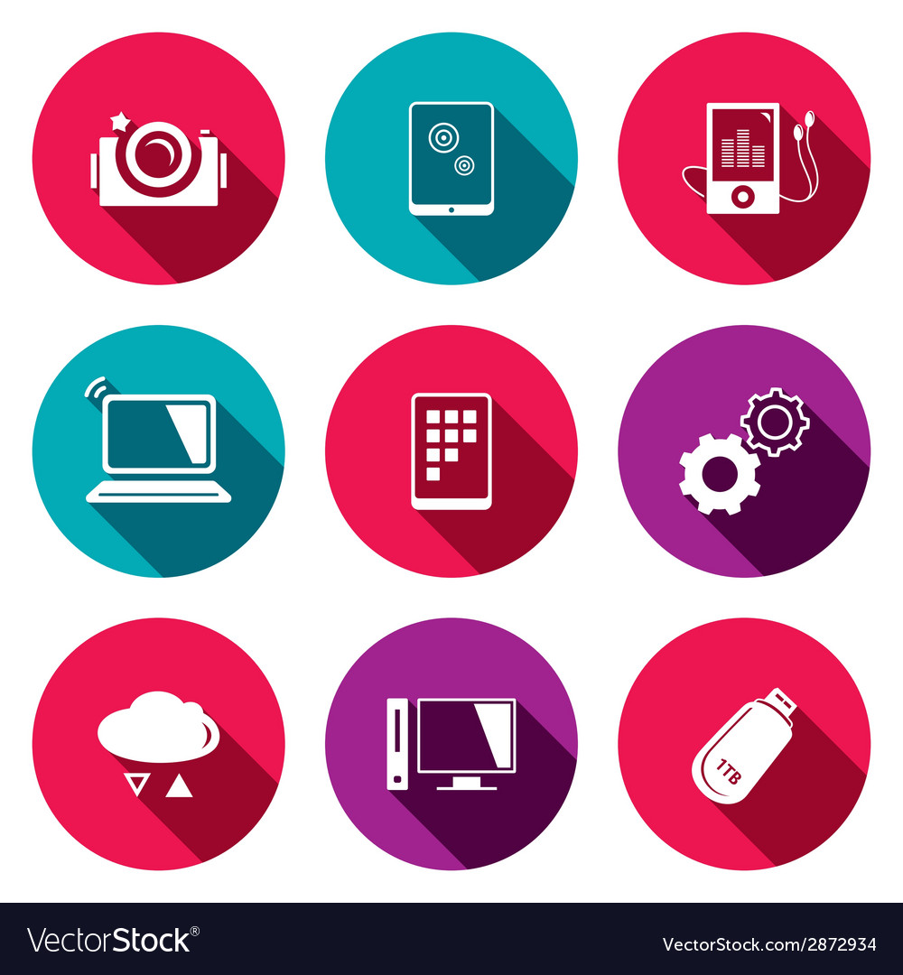 Exchange of information technology flat icons set vector | Price: 1 Credit (USD $1)
