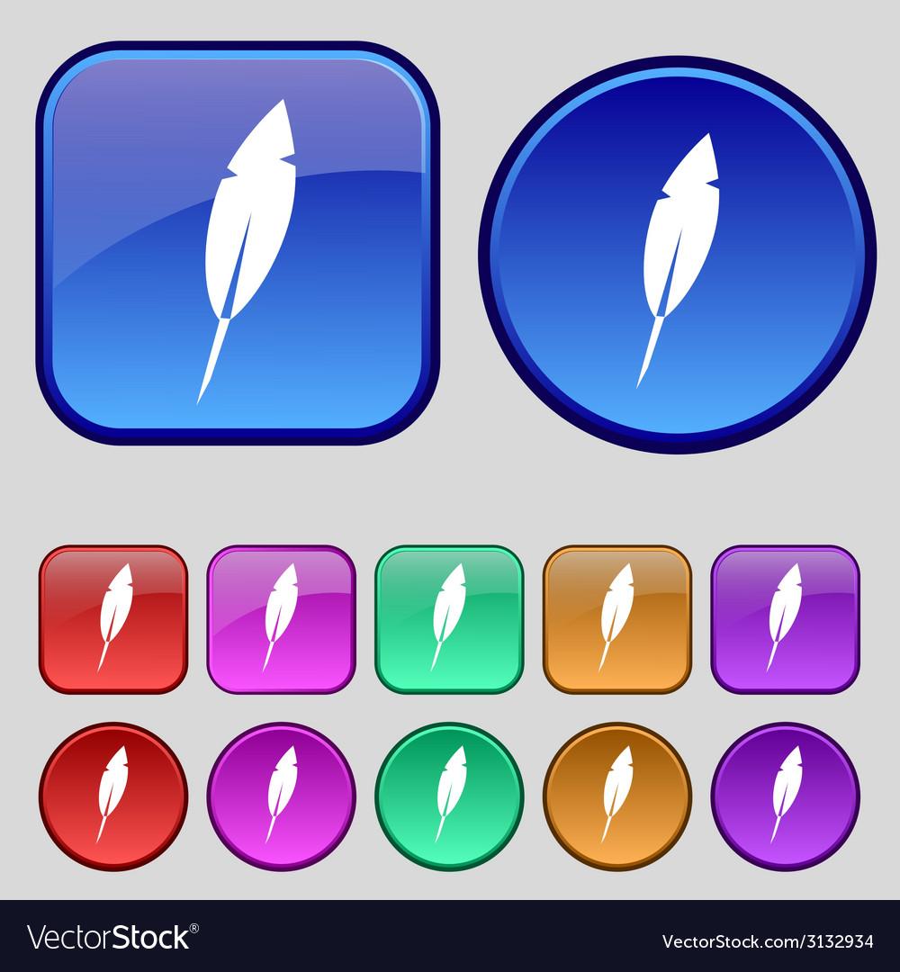 Feather sign icon retro pen symbol set of colored vector | Price: 1 Credit (USD $1)