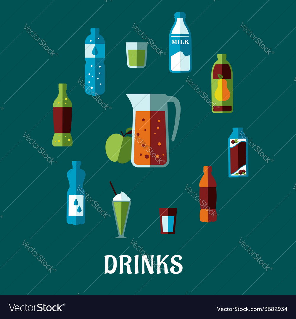 Flat non alcoholic beverage with caption drinks vector   Price: 1 Credit (USD $1)