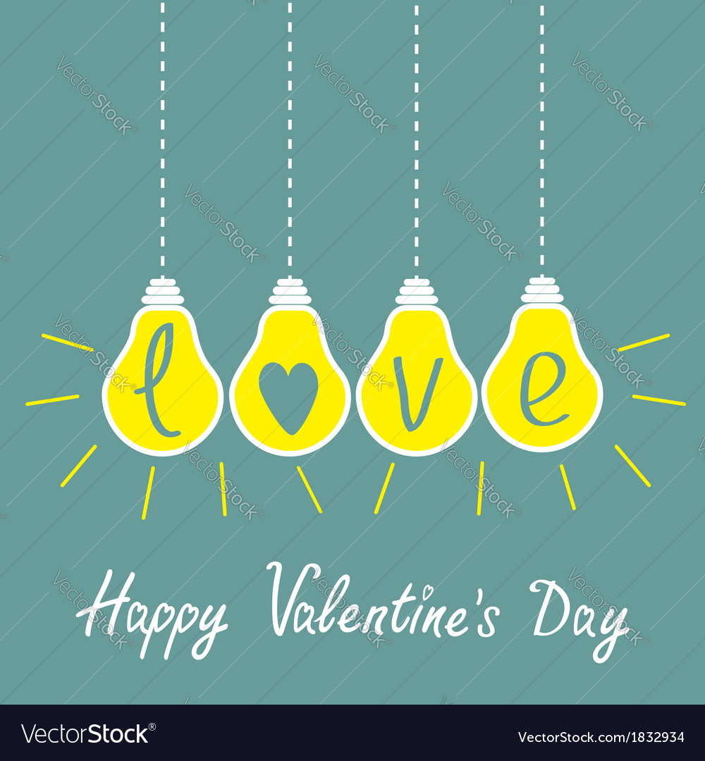 Four hanging yellow light bulbs with word love vector | Price: 1 Credit (USD $1)