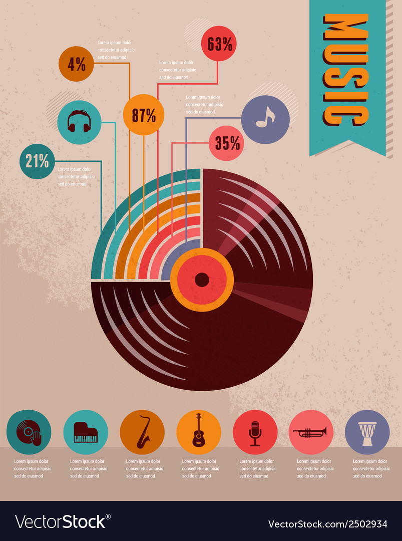 Music infographic and icon set of instruments vector | Price: 1 Credit (USD $1)