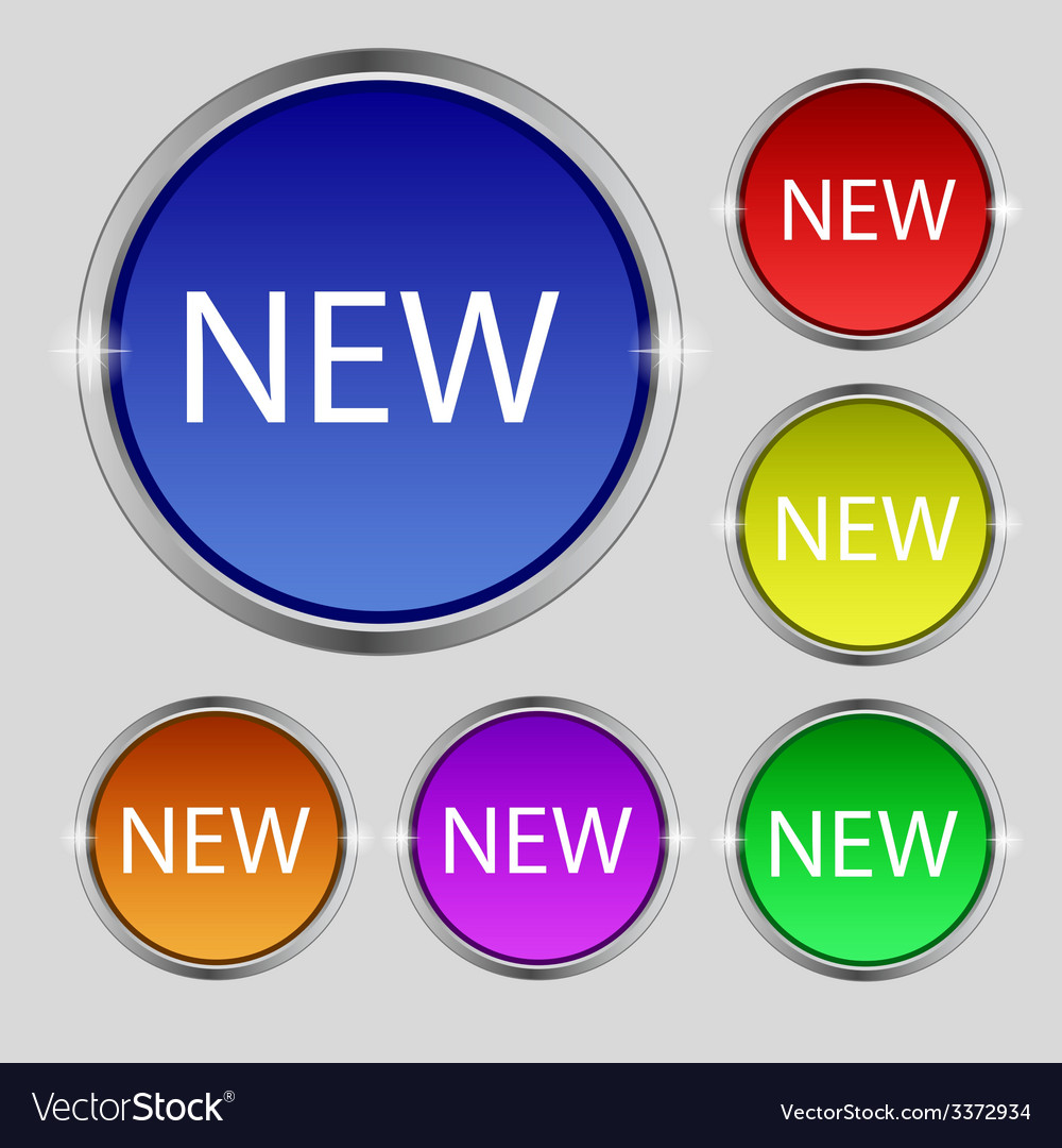 New sign icon arrival button symbol set of colored vector | Price: 1 Credit (USD $1)