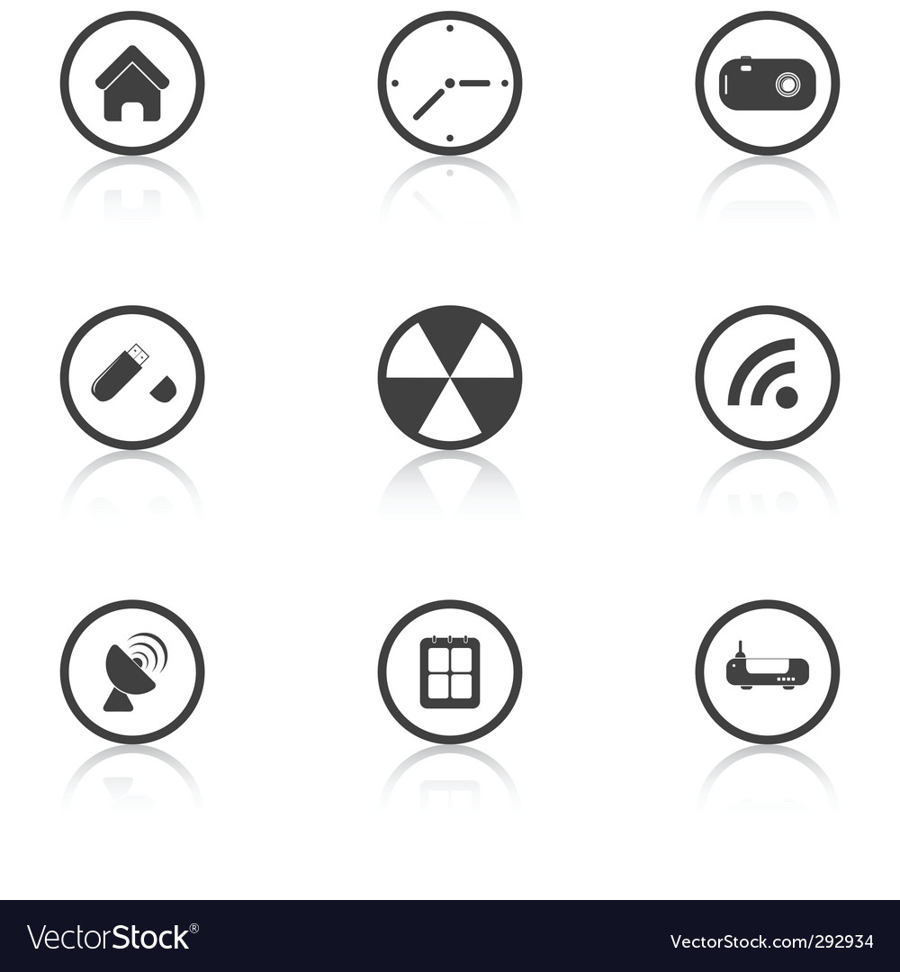 set grey icons techno vector | Price: 1 Credit (USD $1)
