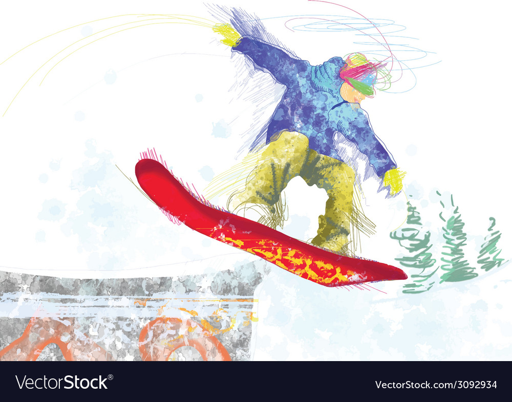 Snowboarder vector | Price: 1 Credit (USD $1)