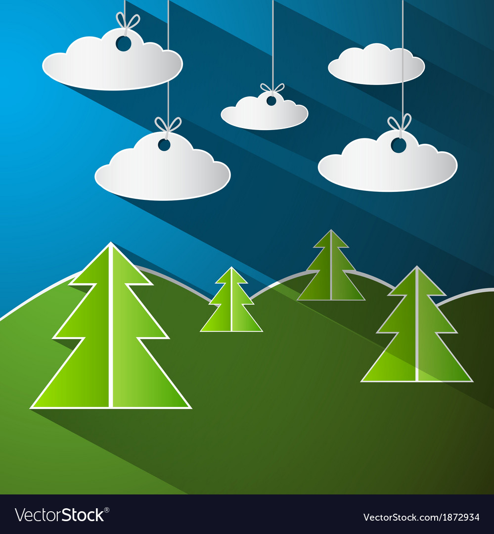 Trees clouds and blue sky made from pape vector | Price: 1 Credit (USD $1)
