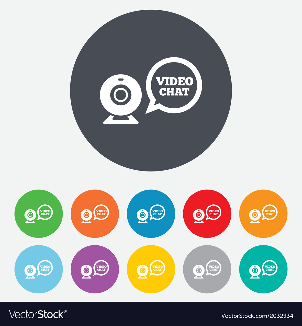 Video chat sign icon webcam video speech bubble vector | Price: 1 Credit (USD $1)