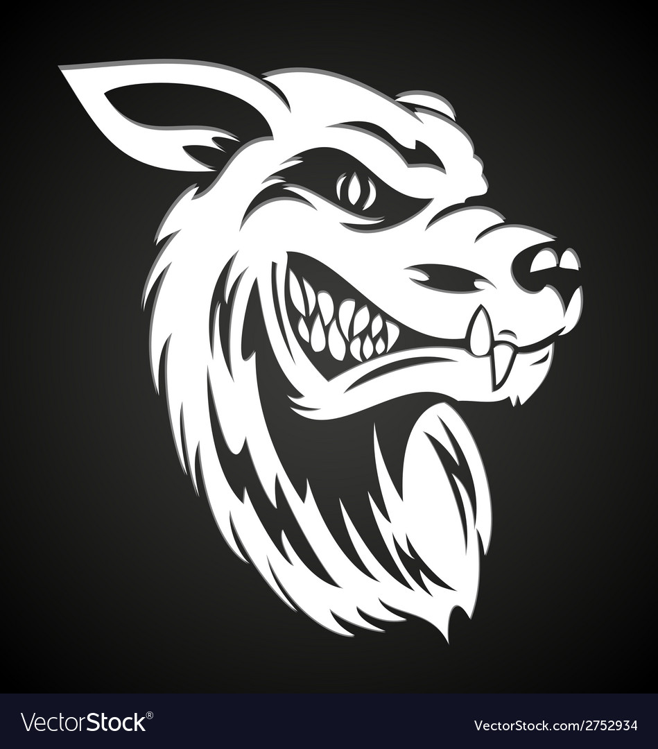 White wolf head vector | Price: 1 Credit (USD $1)