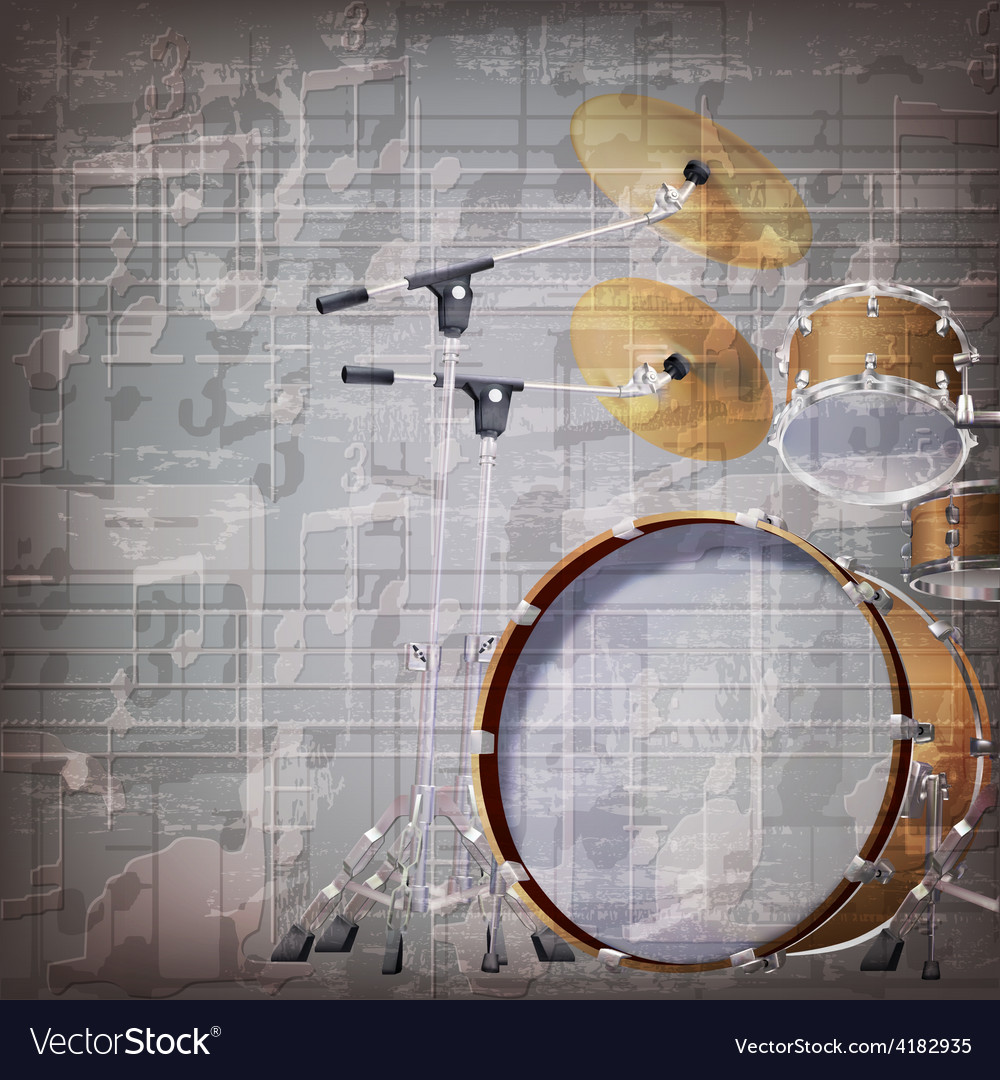 Abstract grunge gray music background with drum vector | Price: 3 Credit (USD $3)
