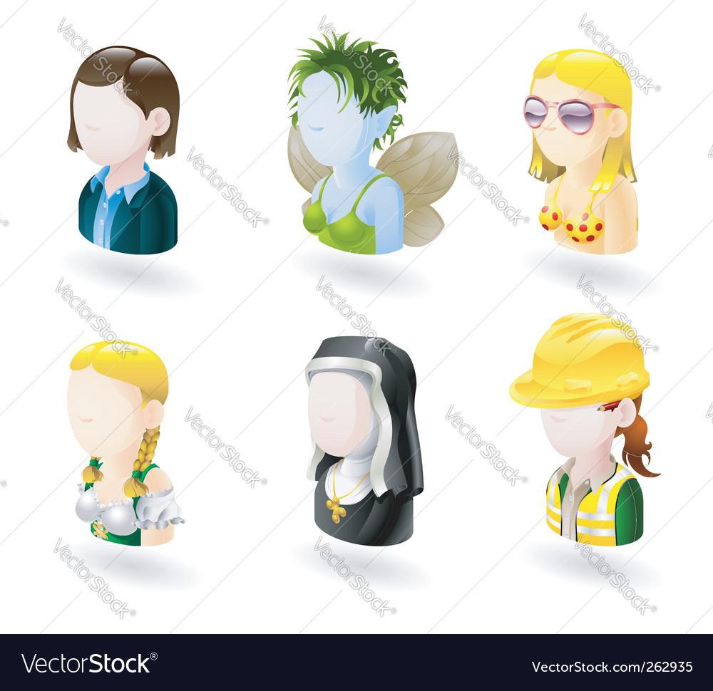 Avatar people internet icon set vector | Price: 3 Credit (USD $3)