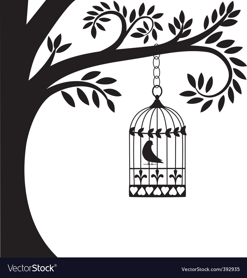 Bird cage and tree vector | Price: 1 Credit (USD $1)