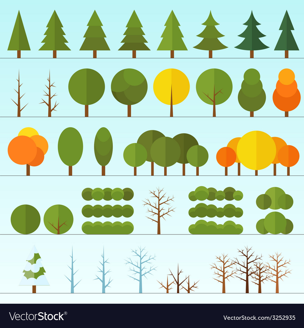 Different trees collection isolated vector | Price: 1 Credit (USD $1)