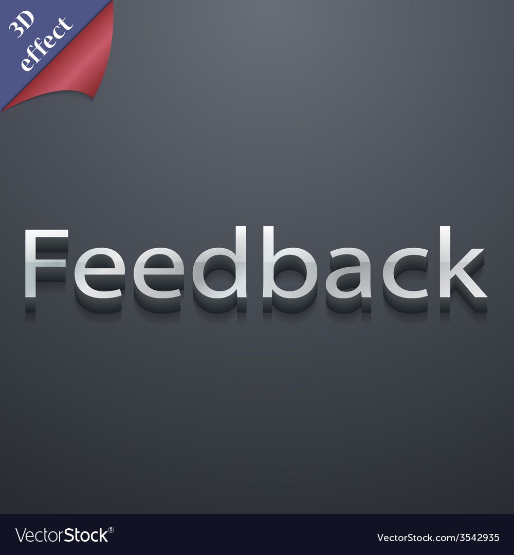 Feedback icon symbol 3d style trendy modern design vector | Price: 1 Credit (USD $1)