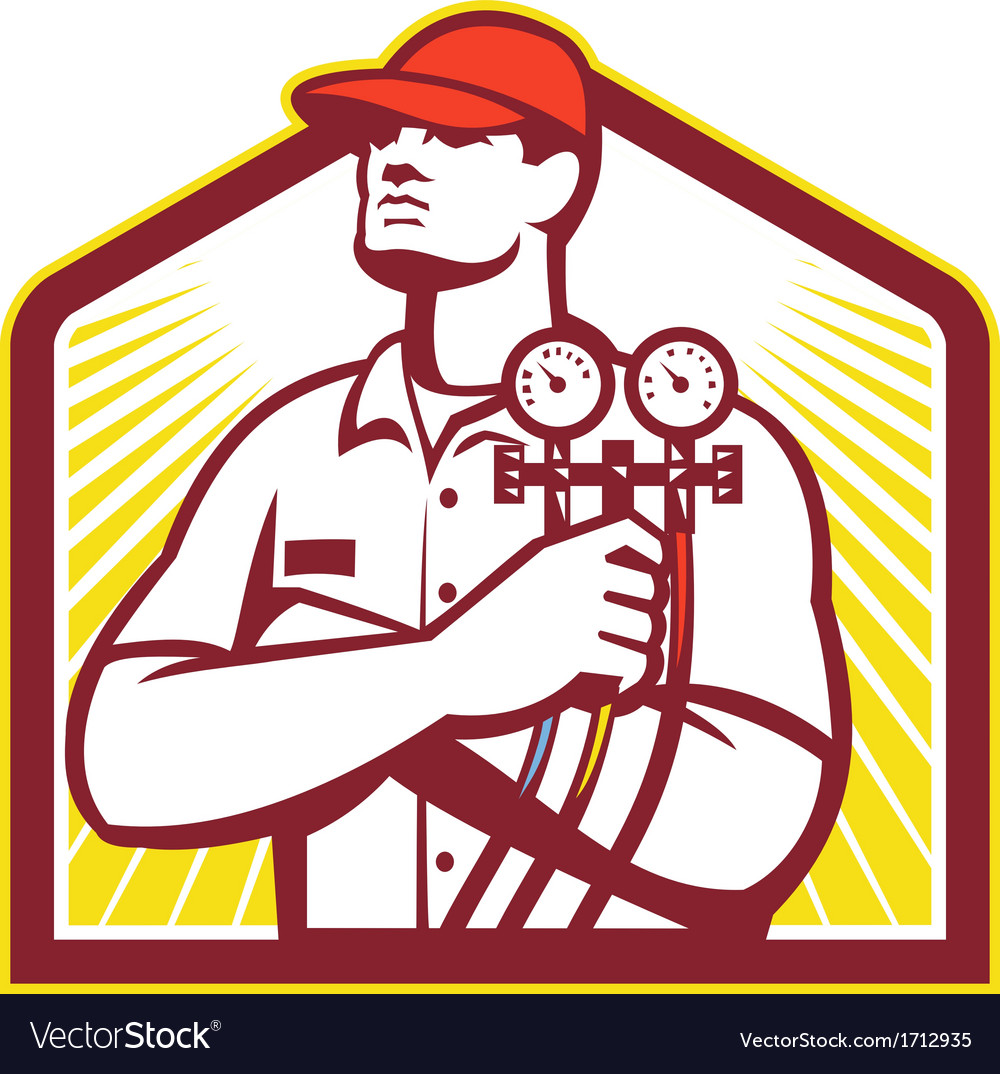 Heating and cooling refrigeration technician retro vector | Price: 1 Credit (USD $1)
