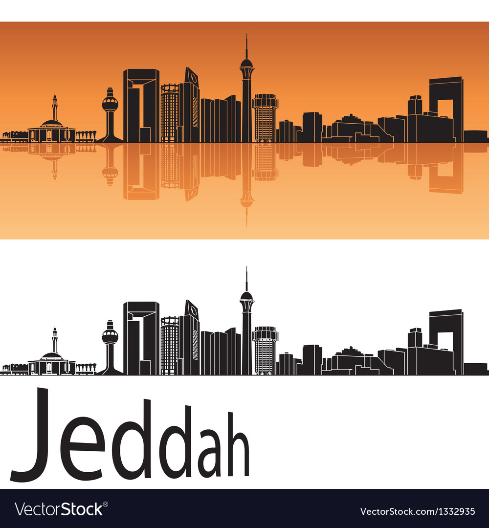Jeddah skyline in orange background vector | Price: 1 Credit (USD $1)
