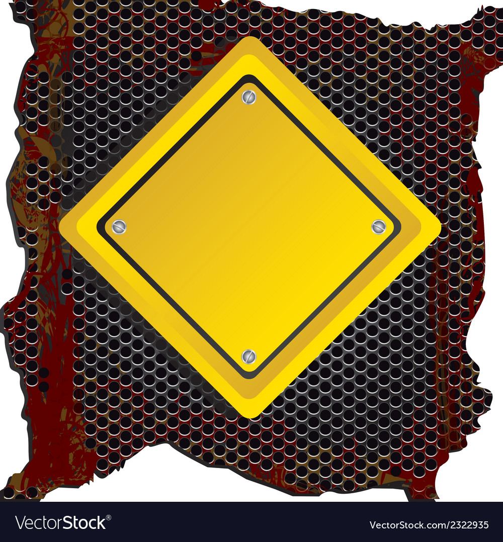 Rhombus yellow sign over rusty background vector | Price: 1 Credit (USD $1)