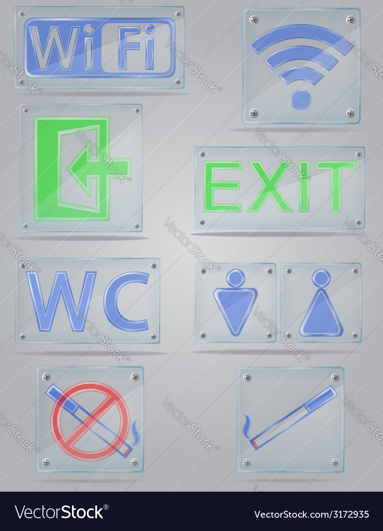 Transparent signs for public places on the plate vector | Price: 1 Credit (USD $1)
