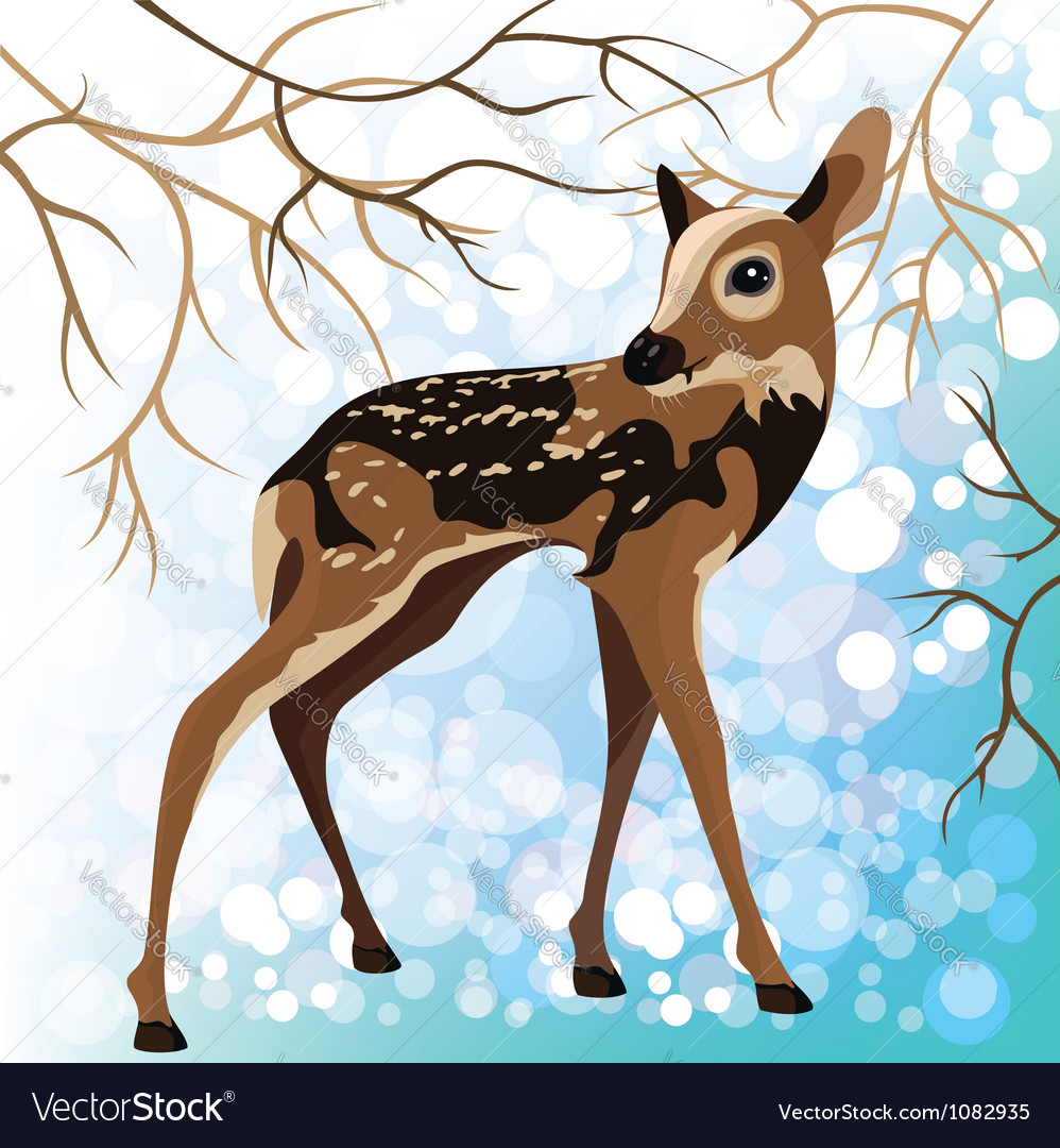 Young deer in a winter forest vector | Price: 1 Credit (USD $1)