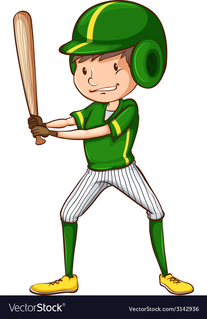 A baseball player in green uniform vector | Price: 1 Credit (USD $1)