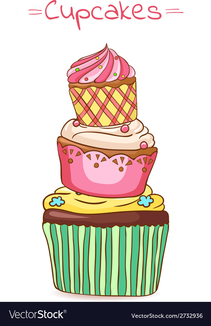 Beautiful pyramid of cupcakes vector | Price: 1 Credit (USD $1)