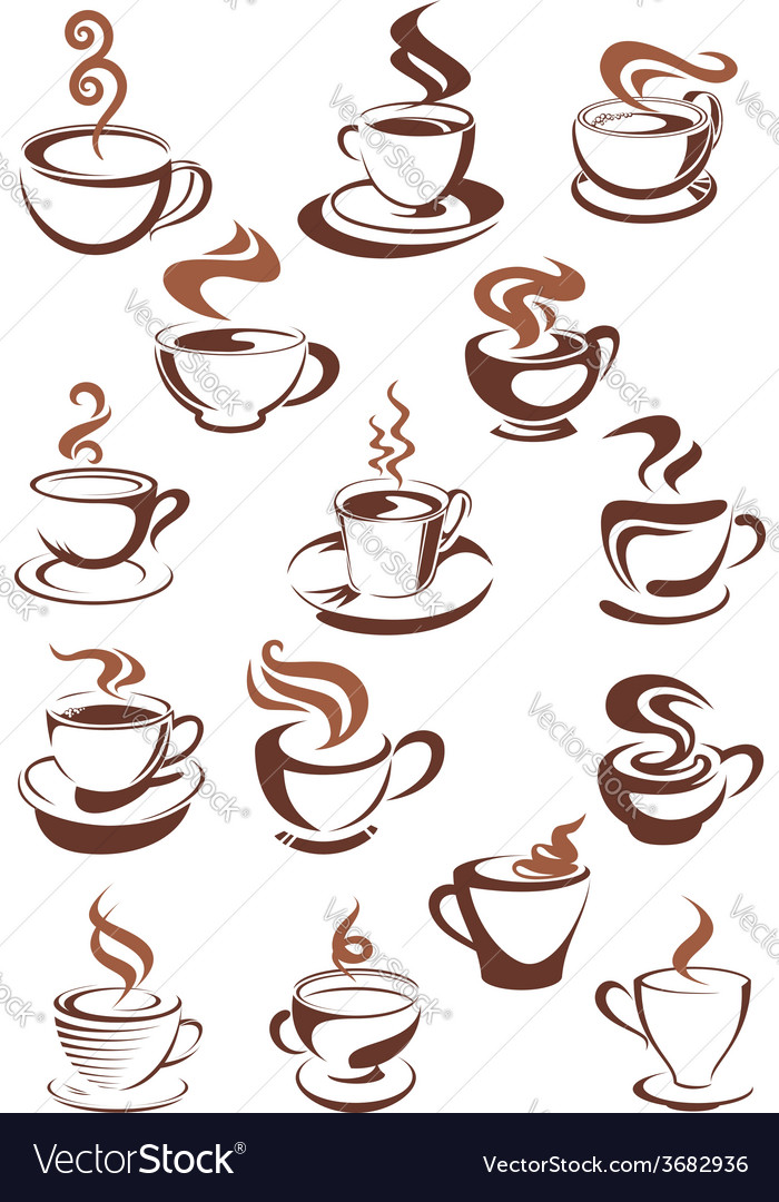Brown cups of coffee cappuccino espresso latte or vector | Price: 1 Credit (USD $1)