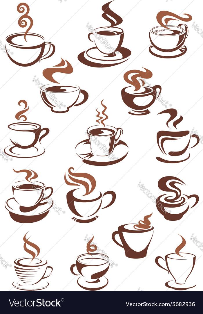 Brown cups of coffee cappuccino espresso latte or vector | Price: 1 Credit (USD $1)