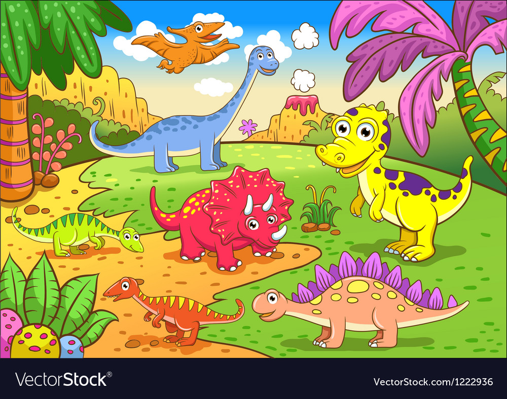 Cute dinosaurs in prehistoric scene vector | Price: 3 Credit (USD $3)