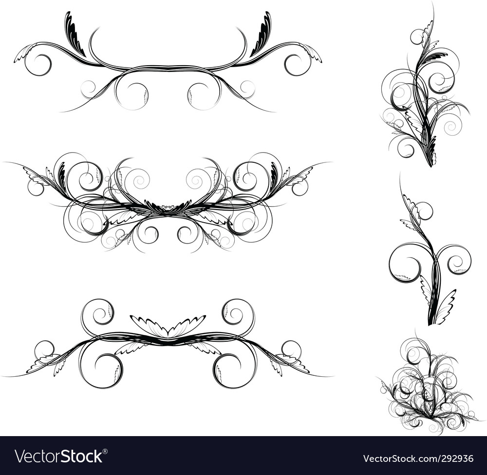 Floral element set vector | Price: 1 Credit (USD $1)
