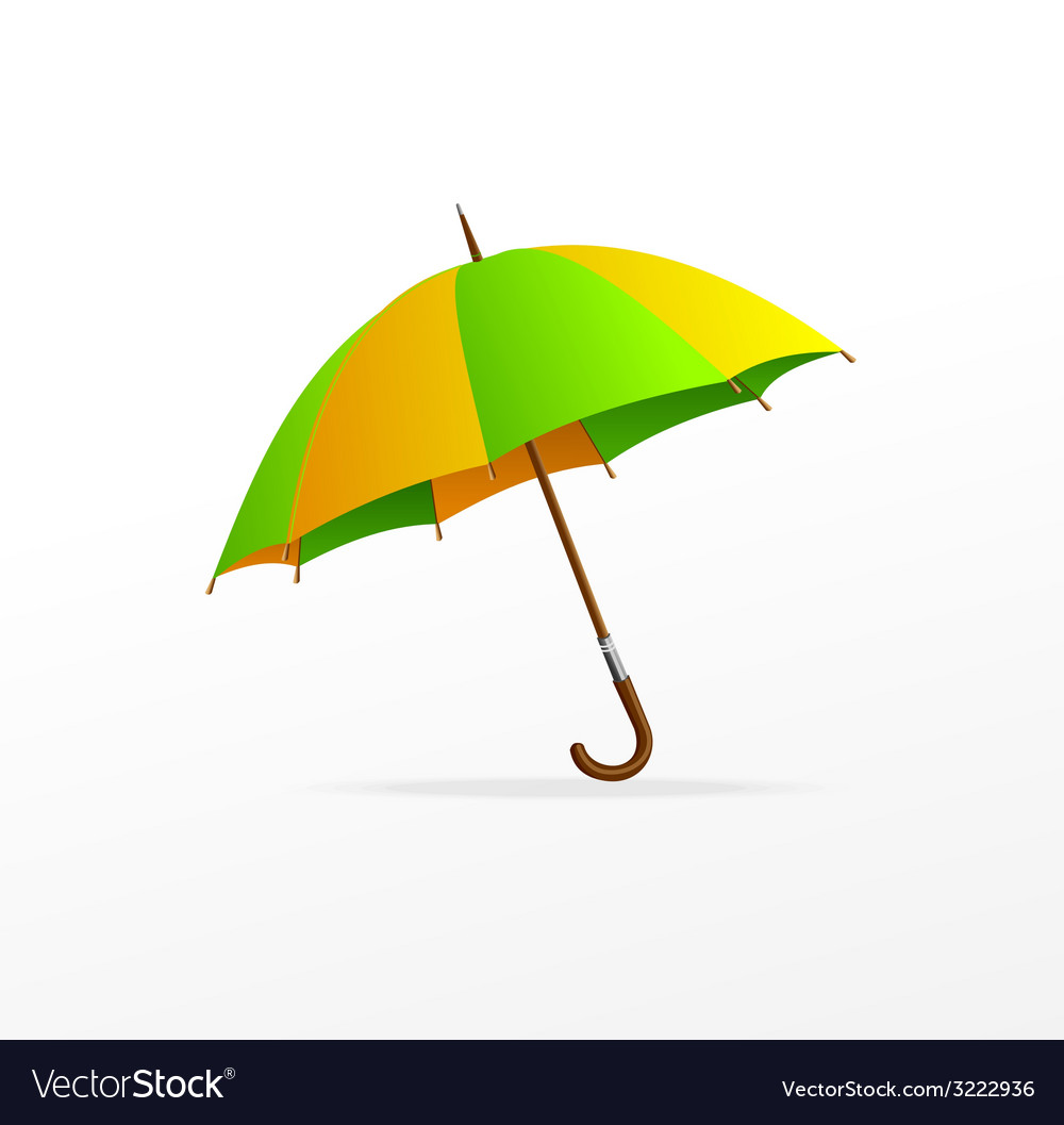 Green and yellow umbrella isolated vector | Price: 1 Credit (USD $1)
