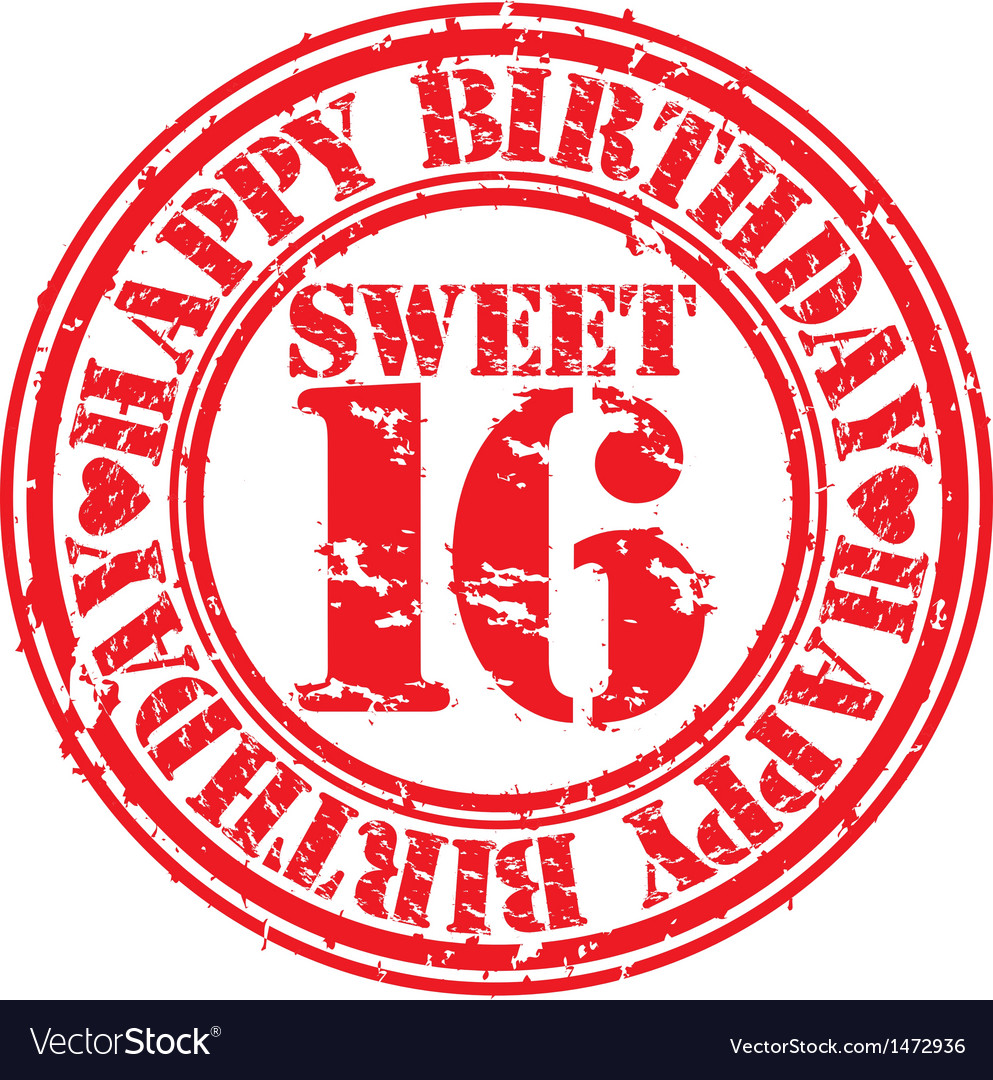 Grunge 16 years happy birthday rubber stamp vector | Price: 1 Credit (USD $1)