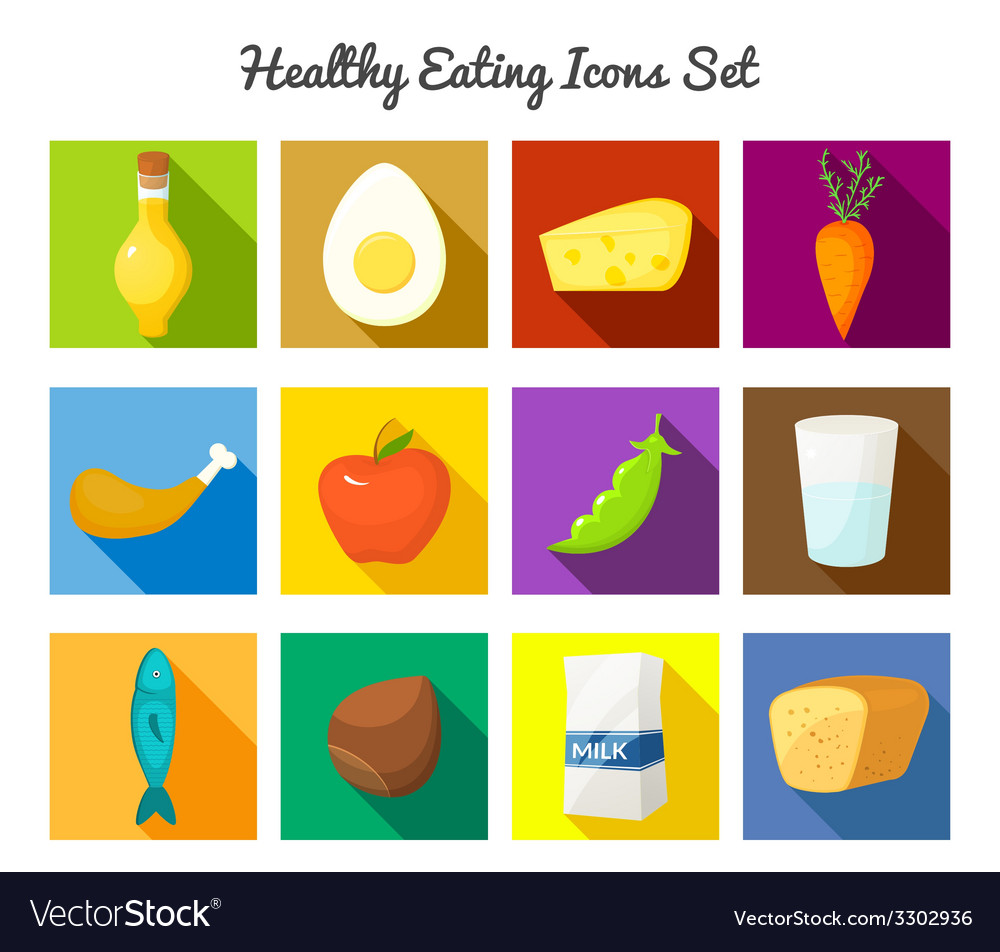 Healthy food icons set vector | Price: 1 Credit (USD $1)