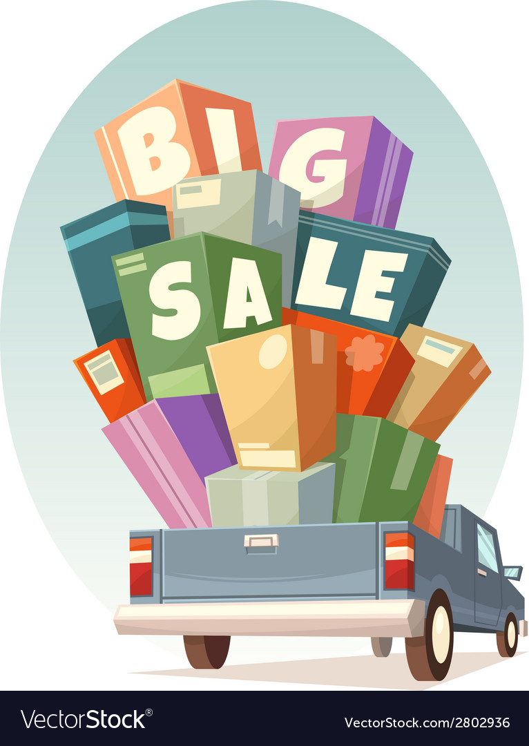 Heap of boxes on pickup with big sale text vector | Price: 1 Credit (USD $1)