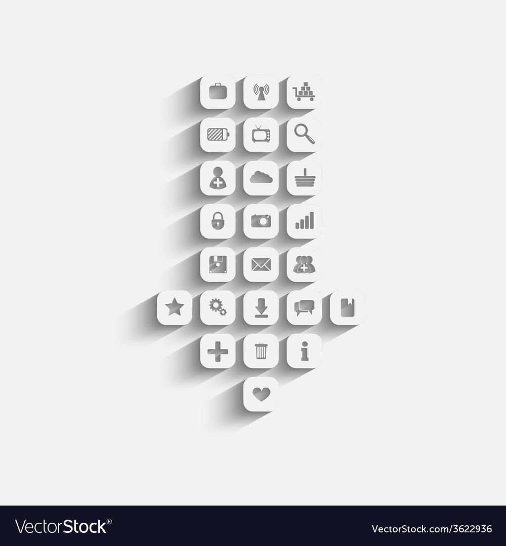 Icon with download sign inside vector | Price: 1 Credit (USD $1)