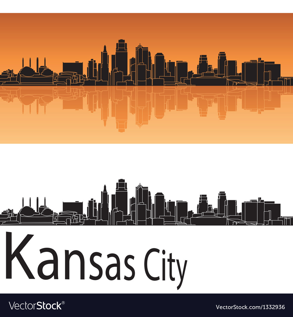 Kansas city skyline in orange background vector | Price: 1 Credit (USD $1)