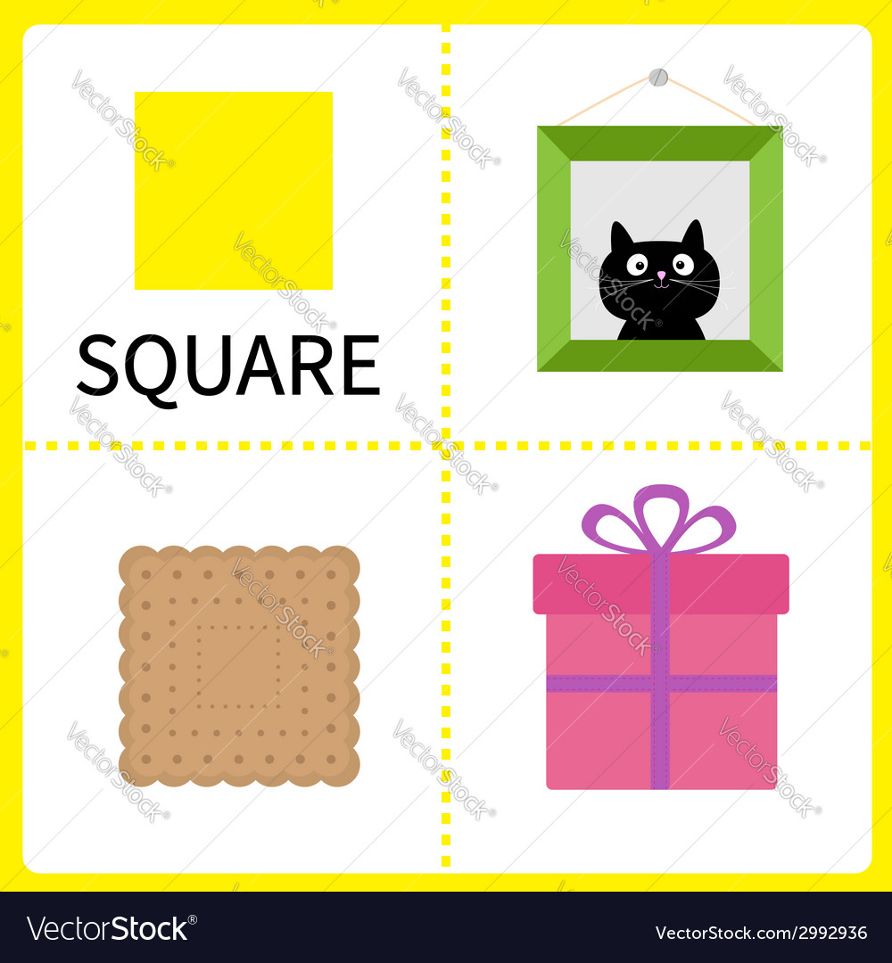 Learning square form frame picture gift box vector | Price: 1 Credit (USD $1)