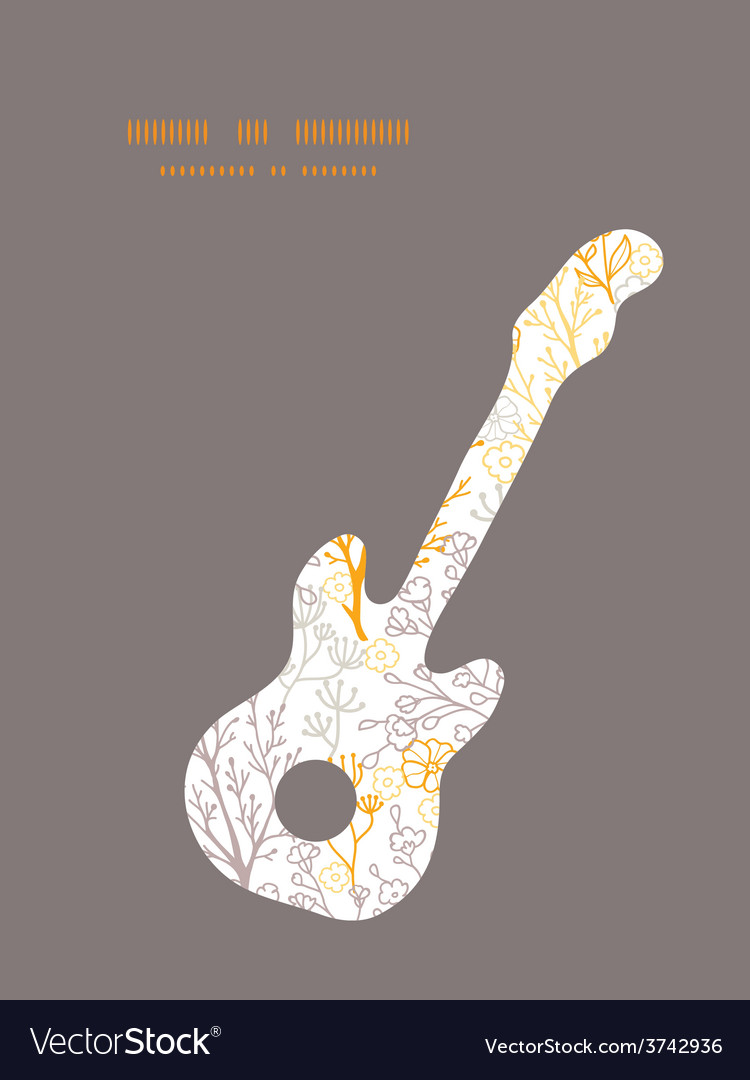 Magical floral guitar music silhouette vector | Price: 1 Credit (USD $1)