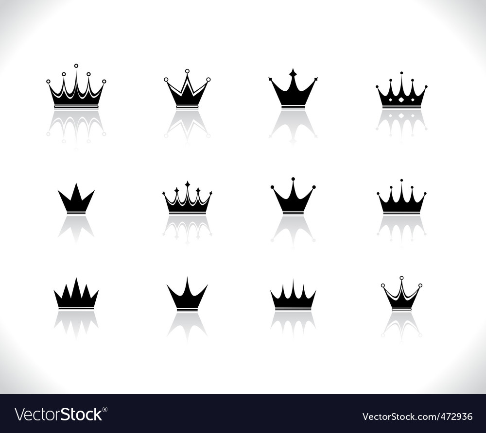 Set of black crowns vector | Price: 1 Credit (USD $1)